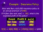 example insurance policy