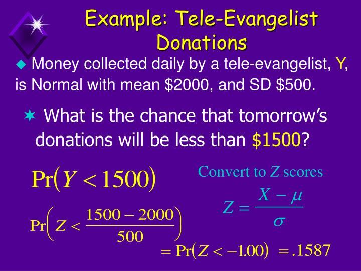 Example: Tele-Evangelist Donations