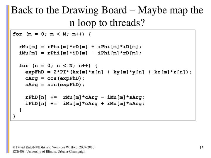 Back to the Drawing Board – Maybe map the n loop to threads?
