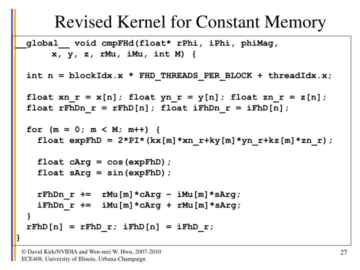 Revised Kernel for Constant Memory
