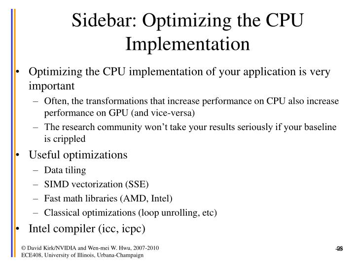 Sidebar: Optimizing the CPU Implementation