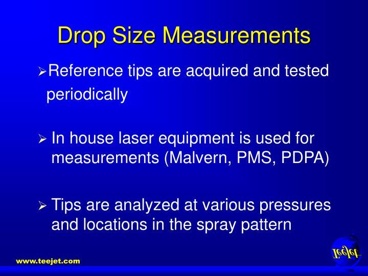 Drop size measurements