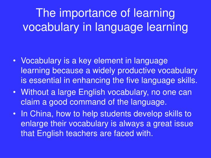 the importance of vocabulary in speaking english