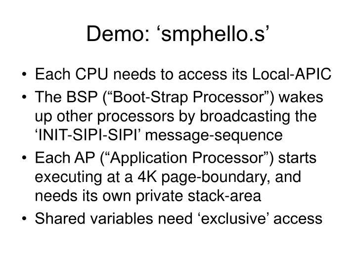 Demo: 'smphello.s'