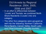 dui arrests by regional residence 2004 2005 2006 and 2007