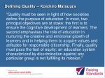 defining quality koichiro matsuura