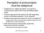 perception of pronunciation must be categorical