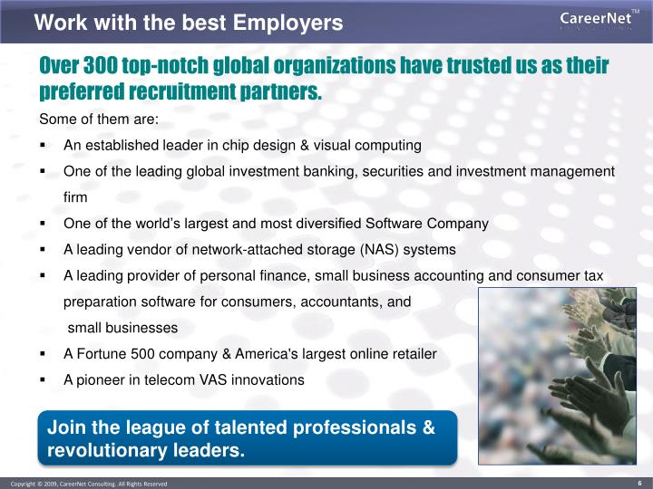 Work with the best Employers