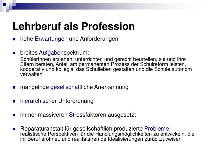 Lehrberuf als Profession
