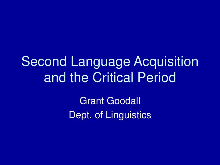second language acquisition and the critical period n.