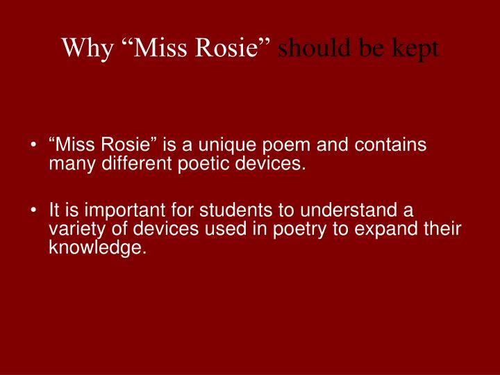 miss rosie poem meaning