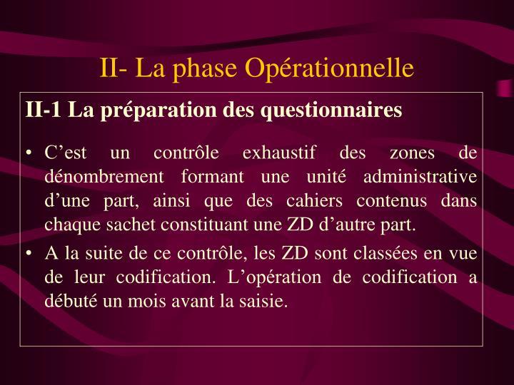 II- La phase Opérationnelle