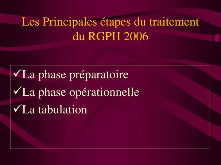 Les principales tapes du traitement du rgph 2006