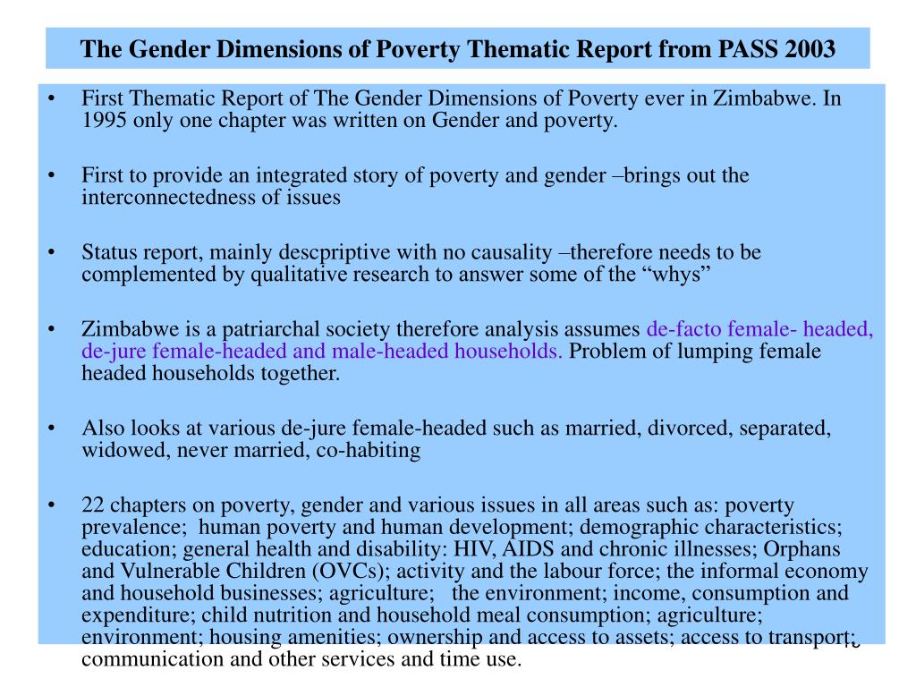 PPT - POVERTY MEASUREMENT AND GENDER:ZIMBABWE'S EXPERIENCE