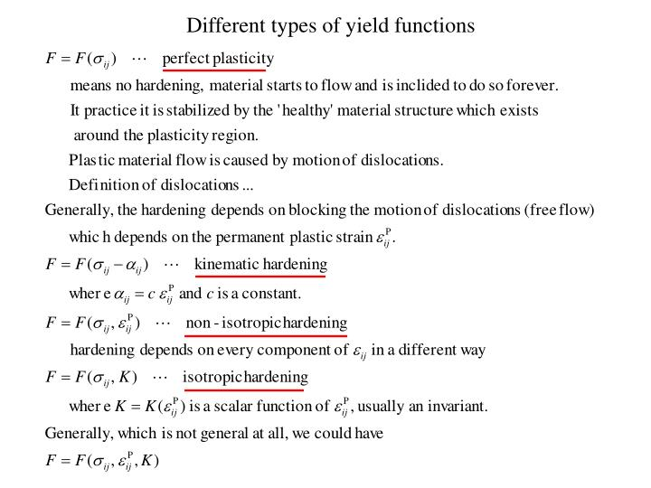 Different types of yield functions