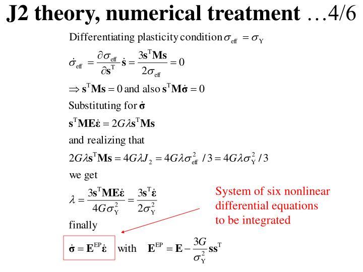 J2 theory, numerical treatment