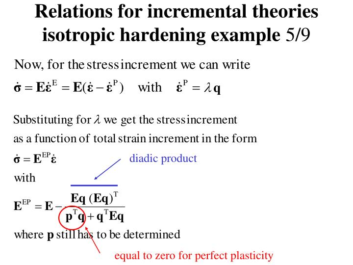 Relations for incremental theories