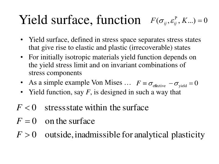 Yield surface, function