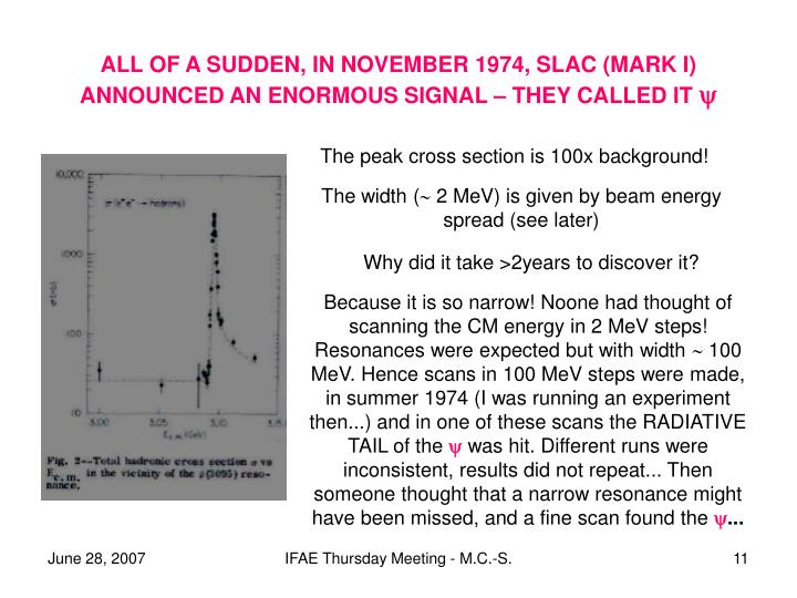 ALL OF A SUDDEN, IN NOVEMBER 1974, SLAC (MARK I) ANNOUNCED AN ENORMOUS SIGNAL – THEY CALLED IT