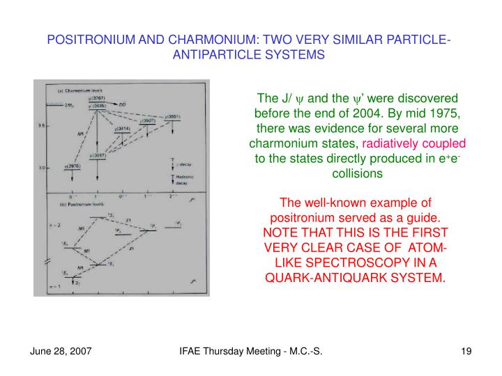 POSITRONIUM AND CHARMONIUM: TWO VERY SIMILAR PARTICLE-ANTIPARTICLE SYSTEMS