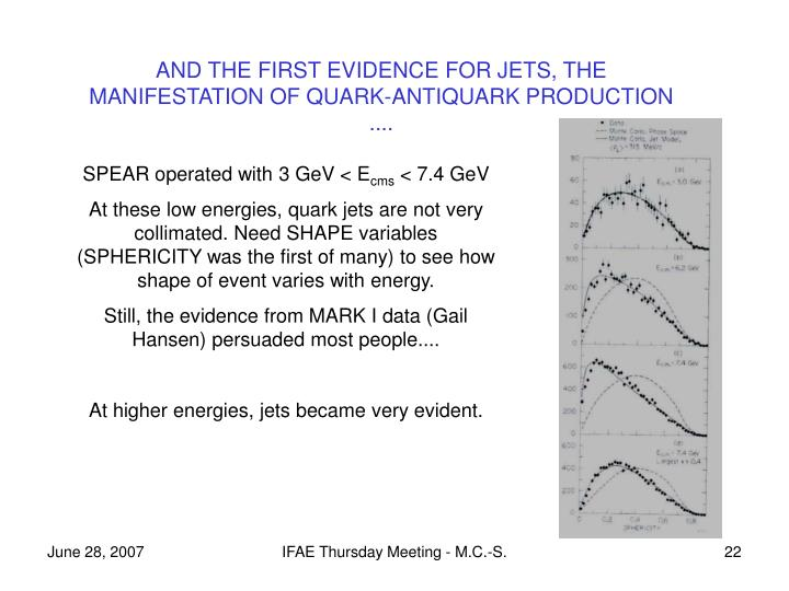 AND THE FIRST EVIDENCE FOR JETS, THE MANIFESTATION OF QUARK-ANTIQUARK PRODUCTION  ....