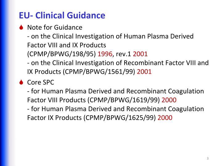 EU- Clinical Guidance
