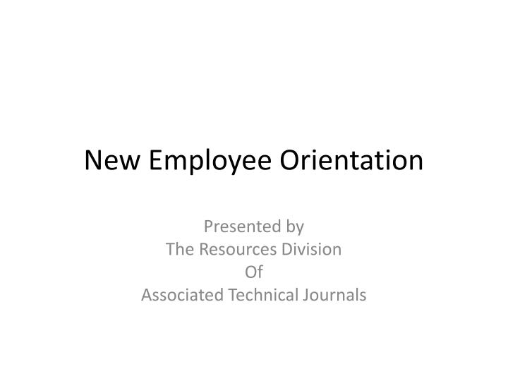 new employee orientation presentation powerpoint