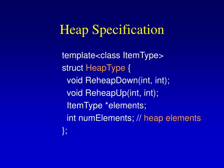 Heap Specification