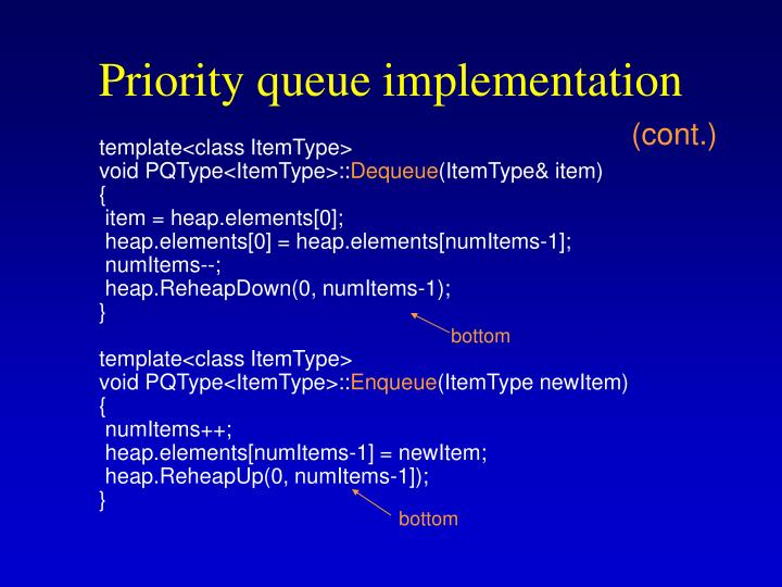 Priority queue implementation
