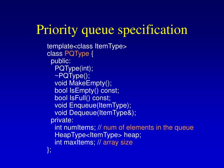 Priority queue specification