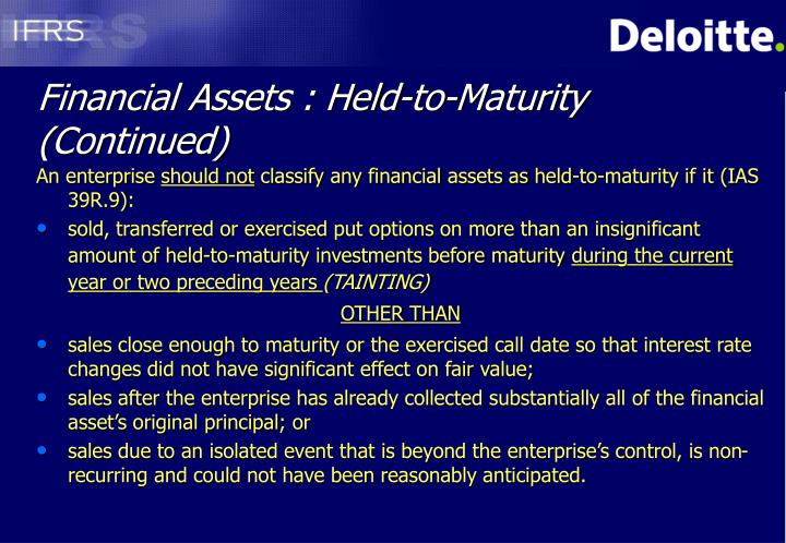 Financial assets held to maturity