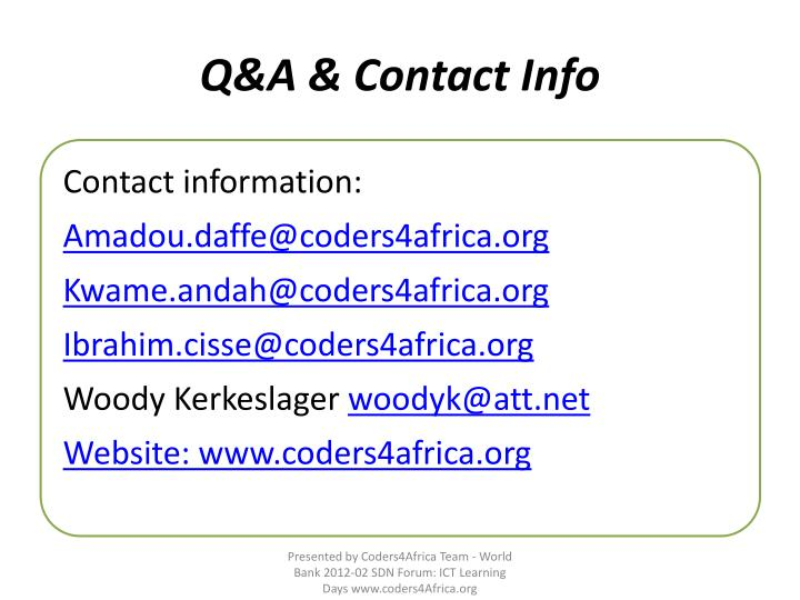 Q&A & Contact Info