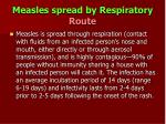 measles spread by respiratory route