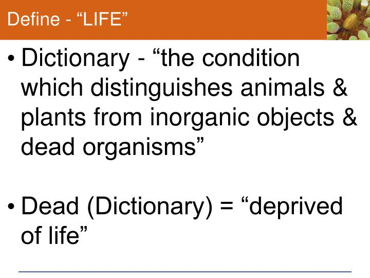 "Define - ""LIFE"""