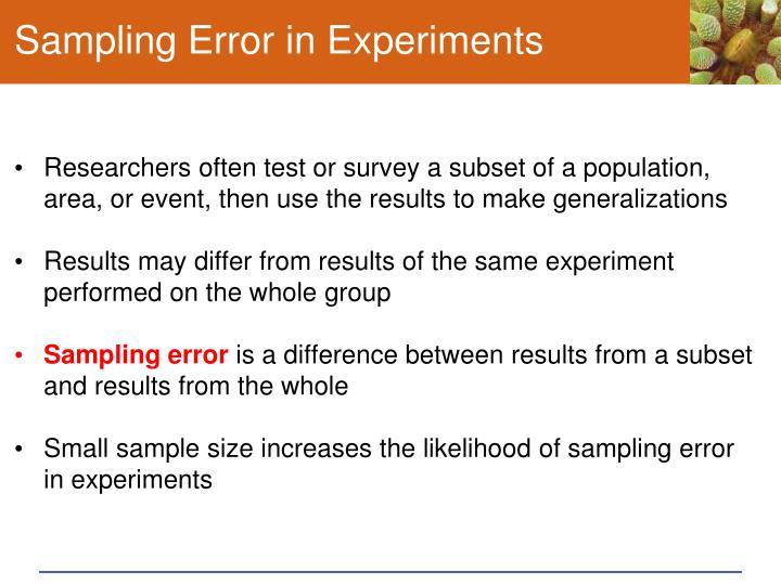 Sampling Error in Experiments