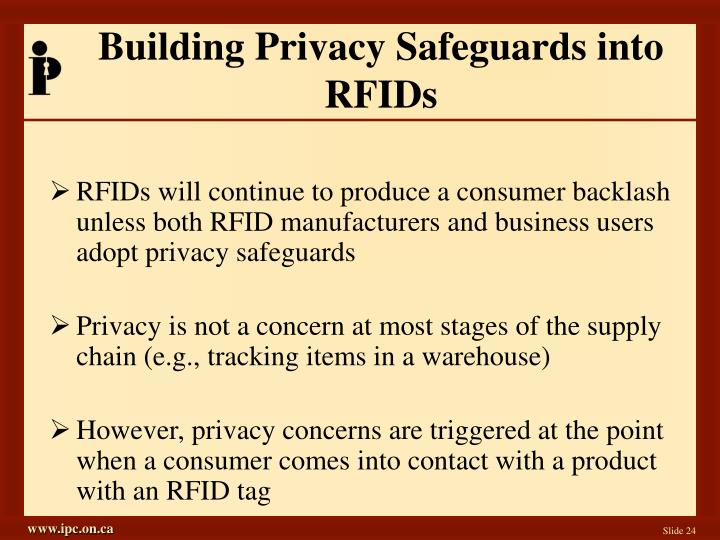 Building Privacy Safeguards into RFIDs