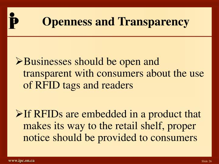 Openness and Transparency