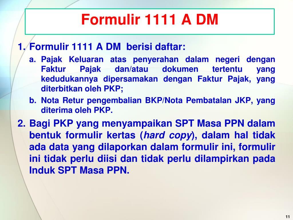Formulir 1111 A DM