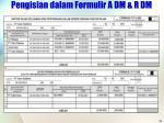 pengisian dalam formulir a dm r dm