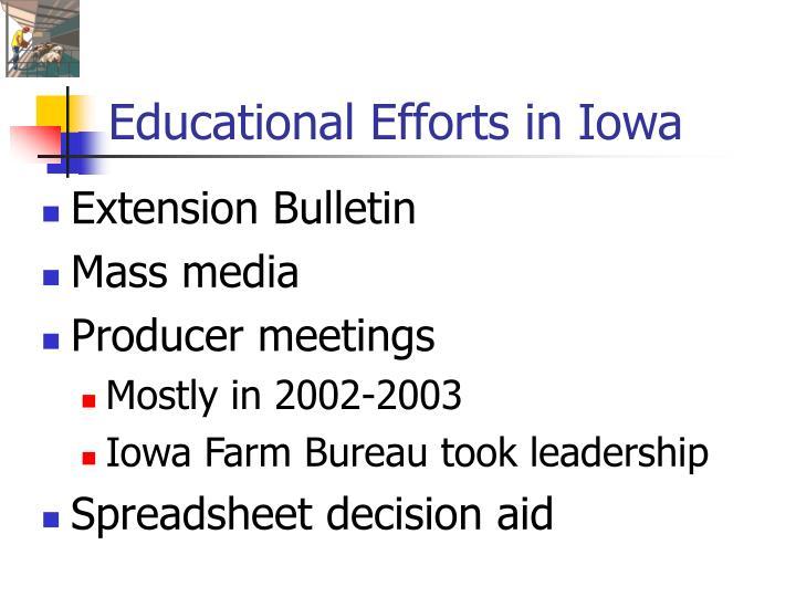 Educational Efforts in Iowa