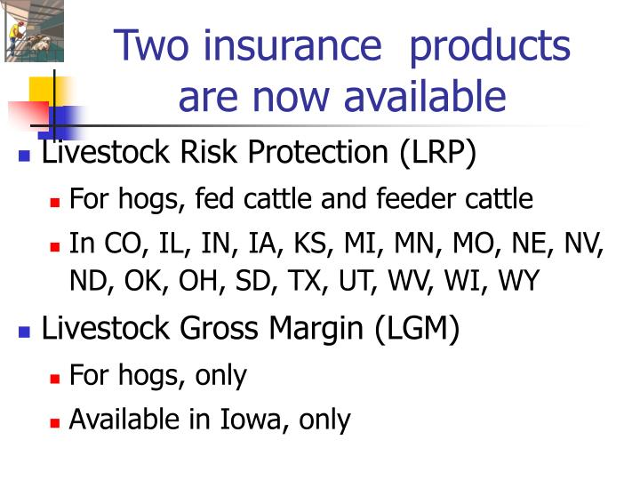 Two insurance products are now available