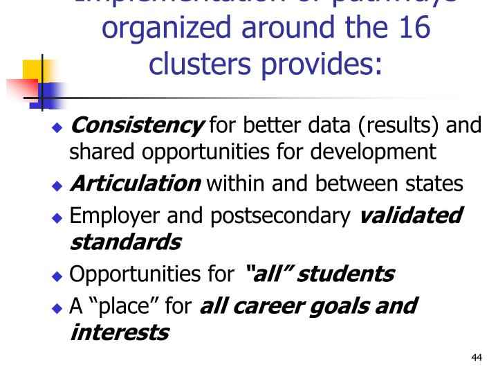 Implementation of pathways organized around the 16 clusters provides: