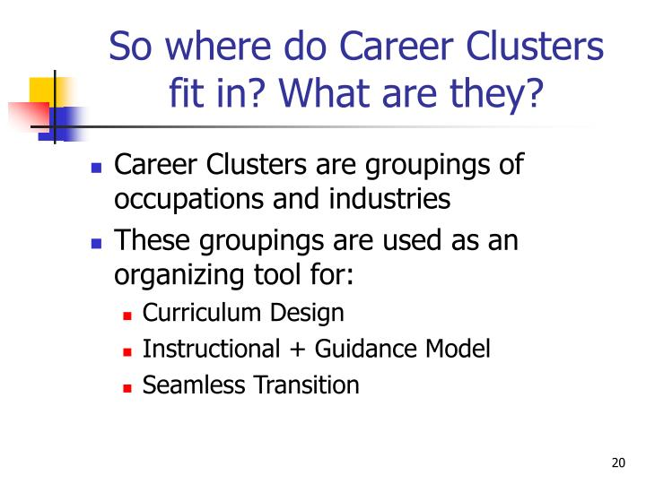 So where do Career Clusters fit in? What are they?