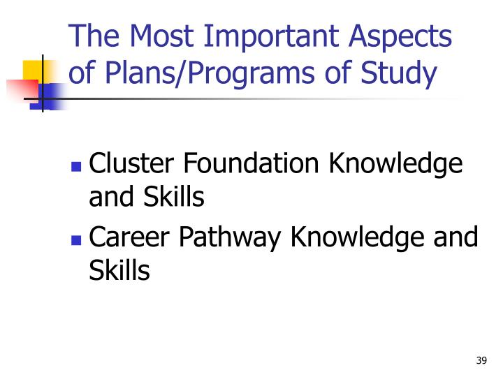 The Most Important Aspects of Plans/Programs of Study