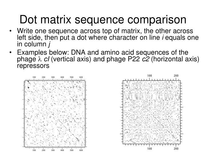 Dot matrix sequence comparison