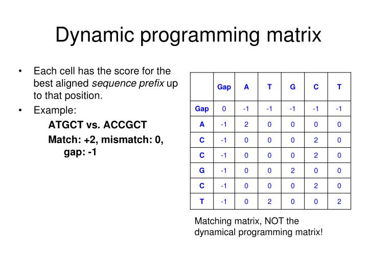 Dynamic programming matrix