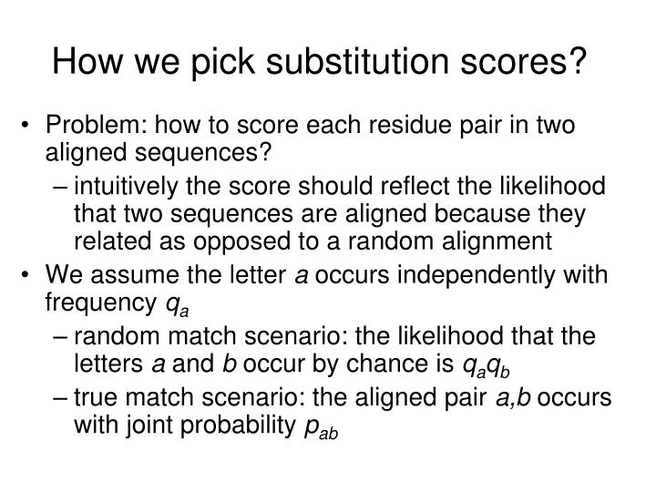 How we pick substitution scores?