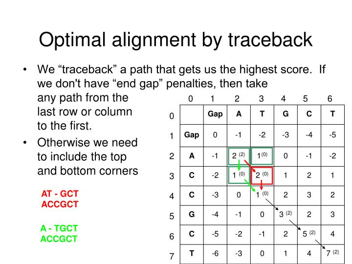 Optimal alignment by traceback