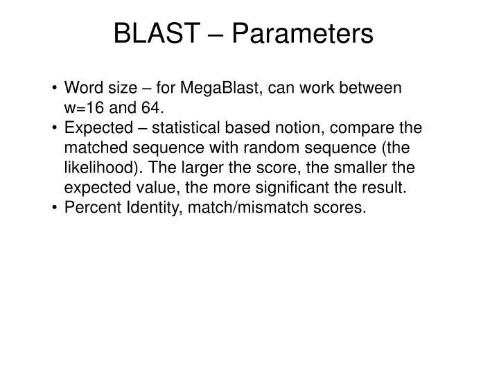 BLAST – Parameters