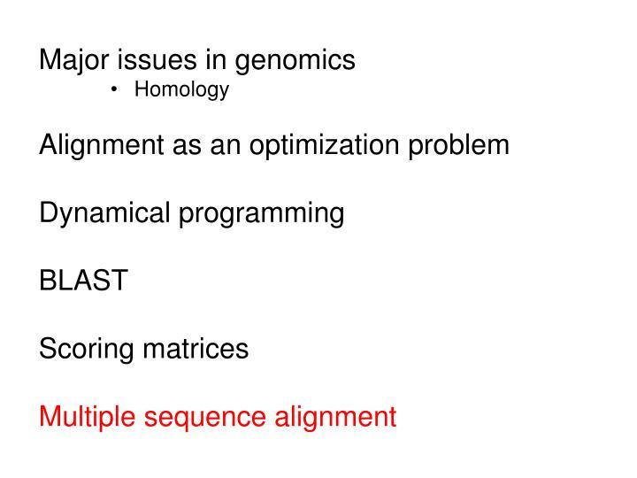 Major issues in genomics